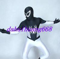 ingrosso abito bianco catsuit vestito-Nero / Bianco Lycra Spandex Spiderman Suit Catsuit Costumi Unisex Spider-Man Costumi Halloween Party Fancy Dress Cosplay Costumi DH283