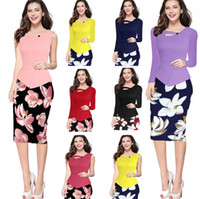 Wholesale Pencil Flare - Fashion Women Summer Sleeveless Button Flare Floral Print Elegant Business Party Formal Work Office Peplum Bodycon Pencil Dress