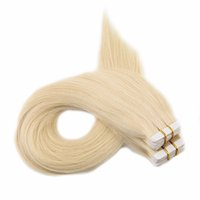 Wholesale double tape hair extensions pieces online - Tape in Hair Extensions Color Blonde virgin Human Hair Skin Weft Tape on Hair Extensions g
