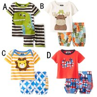 Wholesale Dinosaur Tops - Baby boys Cartoon Animal Dinosaur Tiger Deer print outfits INS children top+Shorts 2pcs set 2018 Summer kids Clothing Sets C4019