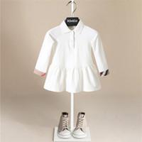reine baumwollmädchenkleider großhandel-Heiße Verkäufe Reiner Baumwolle Kleid Frühling Herbst Infant Baby Mädchen England Stil Solide Plaid Kleider Kind Einfache Weiche Casual Dress
