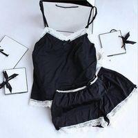 ingrosso vestito di pizzo nero-Donne pigiama sexy pizzo pigiama di seta set lingerie vestiti per le donne cinghie nere pigiama signore accappatoio pigiama pigiama