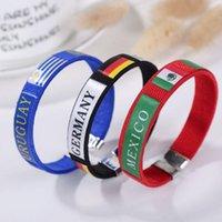 ingrosso bandiere del paese tazza del mondo-Coppa del mondo Flags 11 style Braccialetto in silicone a mano cinturino da polso coppa del mondo Bandiere paesi bandiera Bracciale bandiera calcio