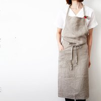 Wholesale Nail Aprons - High -End Japanese Korea Apron Linen And Cotton Fabric Simple Fashion Art Attendant Beautiful Salon Nail Aprons