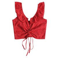 6f9d9074bc STYLE Red Polka Dot Drawstring Cropped Top Summer Women Ruffles Sleeveless  Slim Tank Tops Beach Casual Wear Ropa Mujer Boho