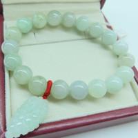 uvas de jade venda por atacado-Natural certificado um grau jade (jadeite) 10 mm rodada talão pulseira / uva charme