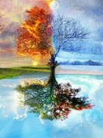 moderne kunstsaison großhandel-Baum der Liebe - Vier Jahreszeiten HD Leinwand Gedruckt Moderne Abstrakte Wandkunst Malerei Wandbilder Für Wohnzimmer Wohnkultur