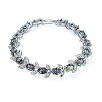 Wholesale Antique Sterling Rings - Antique Special Gift Crystal Fire Mystic Topaz Gemstone 925 Sterling Silver Plated Heart Bracelet Bangle Russia Bracelet Jewelry