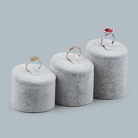 Wholesale Glass Jewelry Showcase - Velvet Jewellery Ring Display Stand Round Cylinder Rings Holder with Clip for Fair Market Booth Store Showcase Jewelry Exhibition