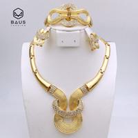 Wholesale Design Plaque - whole sale2017 NEW design good quality parure bijoux femme Plaque Or bijoux africain ensemble Ethiopian Dubai Nigerian wedding jewelry set
