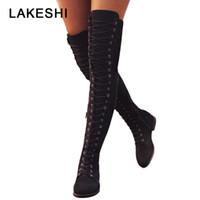 largos sexy con cordones botas al por mayor-Sexy Lace Up Over Knee Boots Botas de mujer estilo rome Zapatos de mujer Pisos Mujer de gamuza botas largas Botas de muslo de invierno 35-43