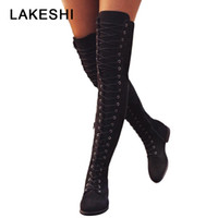 Wholesale army style boots for sale - Group buy Sexy Lace Up Over Knee Boots Women rome style Boots Women Flats Shoes Woman suede long Boots Botas Winter Thigh High