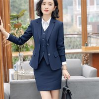 9aaf5a53d978 New Styles Slim Skirt Pant Suits With 3 Piece Jackets + Skirt pant + Vest Female  Blazers   Waistcoat Sets For Women Business Work Wear DHL