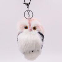 baykuş çantası rengi toptan satış-9 renk İmitasyon tavşan kürk baykuş anahtarlık moda kürk çanta araba kolye sevimli hayvan peluş anahtarlık charm kabarık peluş