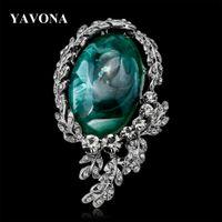 ingrosso piedini nuziale hijab-YAVONA Vintage Crystal Natural stone Corsage Spille Pins per Donna Spilla da sposa Regali nuziali Sciarpa Hijab Clip Gioielli