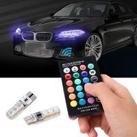 otomobiller için uzaktan kumandalar toptan satış-2 adet // çift T10 5050 Uzaktan Kumanda Araba Led Ampul 6 Smd Renkli W5w 501 Yan Işık Ampüller Ücretsiz nakliye