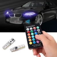 auto lichter glühbirnen großhandel-2 stücke // paar T10 5050 Fernbedienung Auto Led-lampe 6 Smd Multicolor W5w 501 Seitenglühlampen Kostenloser Versand