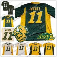 camiseta de fútbol juvenil verde al por mayor-NCAA NDSU Bison # 11 Carson Wentz 2018 Jersey Oro amarillo Verde Blanco Dakota del Norte State College Fútbol Hombre Juvenil Jersey de los hombres