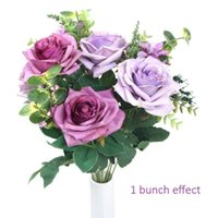 Wholesale artificial rose bunches - Artificial flowers, European artificial roses, silk rose for decorating, silk flower for wedding, a bunch pack