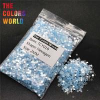ingrosso henna blu-TCY019 Shinning Silver Blue Colore Hexagon Shape Nail Glitter Nail Art Decorazione Gel Corpo Glitter trucco Henné Lavoro manuale DIY