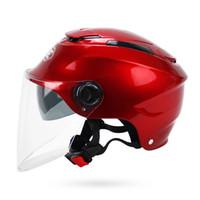 casco de doble cara de doble lente al por mayor-Casco de motocicleta Half Face casco de moto / casco de bicicleta eléctrica Casque De Moto con doble lente YH-365 5 colores