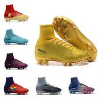 tacos de fútbol originales ronaldo al por mayor-Botines de fútbol de oro rojo original Mercurial Superfly CR7 zapatos de fútbol tobillo alto Cristiano Ronaldo Womens Football Botas 5 tamaño 39-45