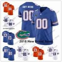 jerseys de fútbol cosido al por mayor-Personalizado Florida Gators 2018 Nuevo fútbol americano real azul naranja blanco Cosido Cualquier nombre Número # 13 Franks 81 Aaron Hernandez Jerseys S-3XL