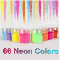 juego de decoración de uñas al por mayor-66 colores metal brillante brillo lentejuelas uñas deco arte kit acrílico polvo conjunto envío gratis