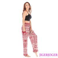 drop ship leggings impressos venda por atacado-Jigerjoger elástico na cintura vinho vermelho fishbones impresso soltas yoga leggings Thai Strappy Harem Pants bolso frete grátis gota