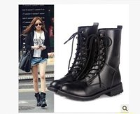 Wholesale Leather Work Shoes Ladies - UK US Ladies Womens Combat Military Boots Lace Up Faux Leather New Women Boot Shoes PLUS S