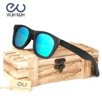 ingrosso occhiali da sole personalizzati-retro tondo nero Telaio in legno di bambù fatti a mano Occhiali da sole Donne Uomini Occhiali da sole Polaroid Eye Wear Fashion Personalizza Drop Ship