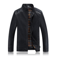 yüksek yaka pu deri ceket toptan satış-Toptan-Sıcak Yüksek dereceli İlkbahar ve Sonbahar erkek iş rahat deri ceket yaka ceket PU deri motosiklet rüzgar geçirmez