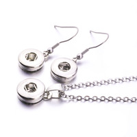 Wholesale 18mm earrings resale online - Simple Noosa Silver Plated mm mm Snap Button Earrings Necklace Jewelry Set For Snap Button Jewelry