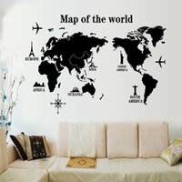 mapa murales de pared al por mayor-Mapa negro Pegatinas de Pared Extraíble Cartel de la Pared Dormitorio Sala de estar Decoración Tatuajes de Arte Moderno Murales DIY Tatuajes de Pared Al Por Mayor