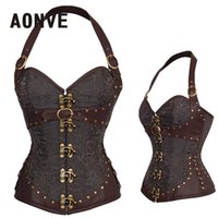 ремень для стимпанк оптовых-AONVE Steampunk Corset Brown Gothic Bodice Sexy Lingerie PU Leather Underbust Corsage Belt Modeling Strap Corsets And Bustiers