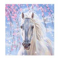 Discount cross oil paintings - 5D Diy Diamond Painting Kits White Horse Cross Stitch Embroidery Needlework Canvas Paintings Frameless Exquisite For Kids Gift 11lx jj
