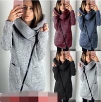 Wholesale Long Sweater Coat High Collar - 11 Colors Women Side Zipper Coats Long Sleeve Hoodies Sweater Autumn Winter Casual Outwear High Collar Pullover Blouse CCA8965 12pcs