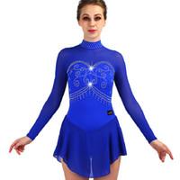 figuriertes schlittschuhkleid groihandel-Eiskunstlauf Kleid Frauen Blau Strass Langarm Eislaufen Kleider Für Mädchen Eislaufen Kleid Ballsaal Kleidung ZH8013