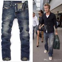 jeans rasgados europeus para homens venda por atacado-Alta Quanlity homens blue denim designer estrela europeia jeans rasgado para homens clássico retro calças