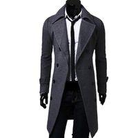 ingrosso cappotto britannico-Cappotto trench da uomo in stile classico fancy classico maschile doppio petto cappotto masculino abbigliamento lungo giacche di spessore cappotti soprabito 4XL
