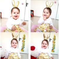 Wholesale animal bunny online - Baby Girls Hair Sticks Gold stamp Hair clasp Cute Bunny Headband Girl Elastic Hairbands headdress hairhoop hair accessories KFG14