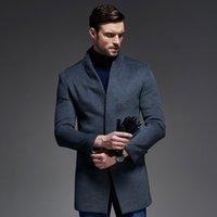 ingrosso cappotto britannico-Cappotto di lana degli uomini di marca Causale del 50% Moda autunno / inverno Grigio medio lunghezza Cappotti di lana British soprabito maschile