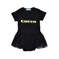 xadrez de renda preta de criança venda por atacado-Meninas do bebê vestido de balé lace romper Rainha impressão metálica preto de manga curta romper crianças roupas de verão bonito roupas de dança para 1-3 T