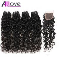 Wholesale best brazilian bundle human hair resale online - Best A Brazilian Hair Human Hair Bundles With Closure Water Wave Bundles With Closure Wet And Wavy Human Hair Extensions