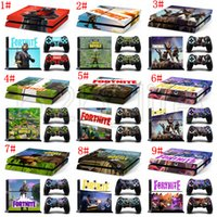 Wholesale game television - 9 Styles Game Fortnite Battle Royale Skin Sticker Decal For PS4 One set Stickers for Console and 2 Controllers Vinyl Sticker 100pcs AAA615