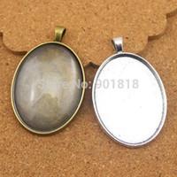 Wholesale bronze alloy base setting pendant resale online - 10pcs vintage metal Inner size mm alloy bronze oval cabochon base pendant blanks setting Metal Jewelry Blanks F735