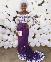 Wholesale Lavender Floral Ribbon - Off The Shoulder Purple Evening Dresses Floral Lace Satin Mermaid Evening Dresses African Aso Ebi Prom Dresses Sweep Train