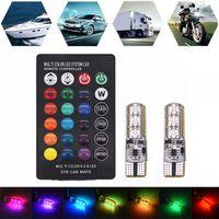 Heat Resistant Ultra Bright T10 6 Led 5050 RGB Multi Color Light Waterproof Car Wedge Lights DC 12V