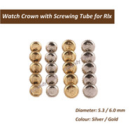 Wholesale watch crown parts online - Stainless Steel Gold and Silver Rlx Watch Crown with Screwing Tube Ideal Watch parts for Watch Makers