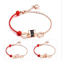 Wholesale good luck bracelets for women - 18K ROSE GOLD Plated Stainless Steel Red thread Red String bracelet Good Luck Bracelet For Women